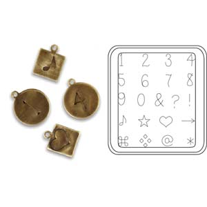 Vintaj Natural Brass - Sizzix DecoEtch Die - Handwriting Numbers