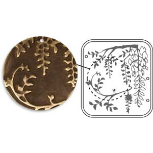Vintaj Natural Brass - Sizzix DecoEmboss Die - Flowering Wisteria