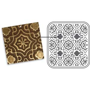Vintaj Natural Brass - Sizzix DecoEmboss Die - Moroccan Tile