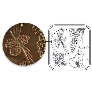 Vintaj Natural Brass - Sizzix DecoEmboss Die - Pine Forest