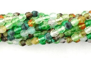 Czech Glass Fire Polished Beads 10mm Enchanted Forest Mix x50