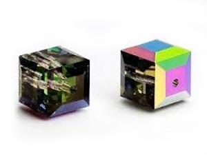 Swarovski Crystal 6mm Cube Beads - Crystal Vitrail Medium x1