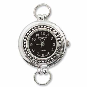 Geneva Black Round Watch Face for Beading Looped Silver (D03)