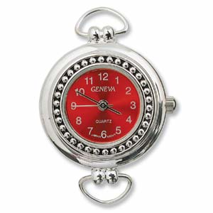 Geneva Red Round Watch Face for Beading Looped Silver (D01)