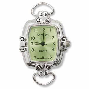 Geneva Green Square Watch Face for Beading Looped Silver (D01)