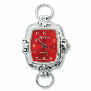 Geneva Red Square Watch Face for Beading Looped Silver (D02)