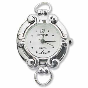 Geneva Round Watch Face for Beading Looped Silver (D15)