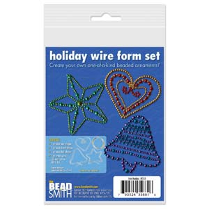 Beadsmith Holiday Ornament Wire Forms 3 piece plus Wire
