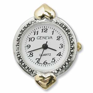 Watch Face for Beading Looped ~ Silver/Gold Two-Tone - 05