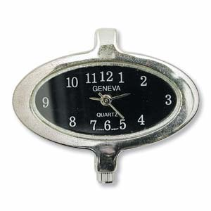 Geneva Black Oval Watch Face for Beading Looped Silver (D02)