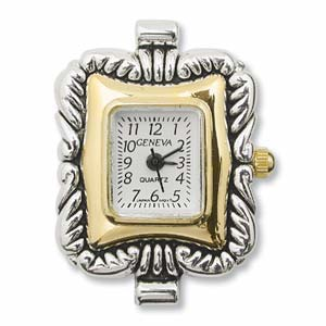 Watch Face for Beading Looped ~ Silver/Gold Two-Tone - 04