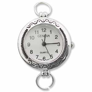 Watch Face for Beading - SILVER - 09 (with loops)