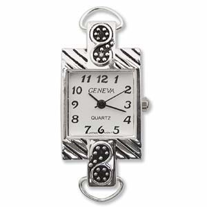 Geneva Bali Style Watch Face for Beading Looped Silver (D12)