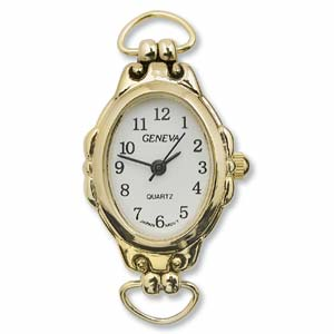 Geneva Oval Watch Face for Beading Looped Gold (D01)
