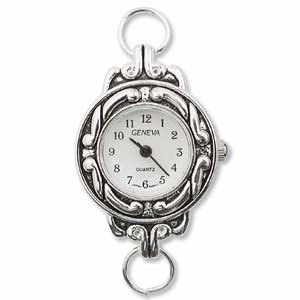 Geneva Round Watch Face for Beading Looped Silver (D01)
