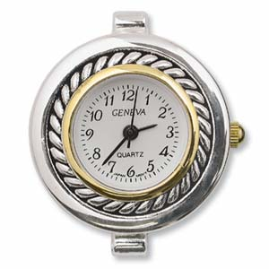 Geneva Round Watch Face for Beading Silver Gold Two Tone (D01)