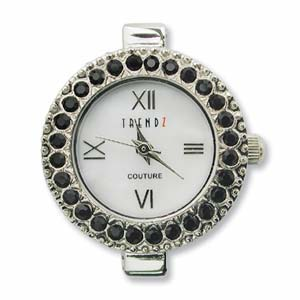 Trendz Couture Round Watch Face for Beading Silver Austrian Crystals Jet (D04)