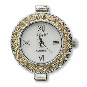 Trendz Couture Round Watch Face for Beading Silver Austrian Crystals Topaz (D06)