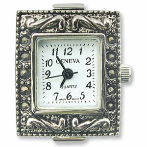 Geneva Marcasite Square Watch Face for Beading Silver (D03)