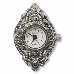 Watch Face for beading ~ Marcasite Oval - 02