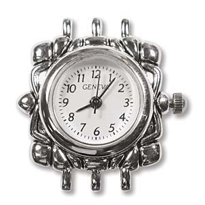 Watch Face for beading ~ Silver Plated ~ 3-Strand - 02