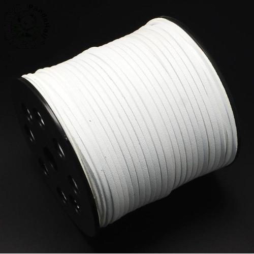 Faux Leather Leatherette Flat Cord 2.7-3mm White per metre