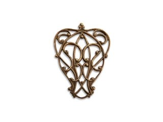 Vintaj Natural Brass 23x12mm Lyrical Filigree x1