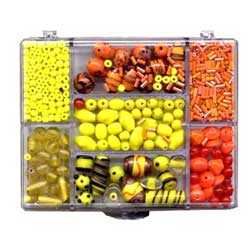 Box of Beads for Jewellery Making - Yellow & Orange