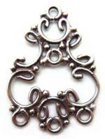 BALI Sterling Silver 25x17mm 3-Strand Chandelier Pendant x1
