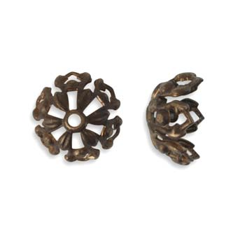 Vintaj Natural Brass 12.7mm Tapestry Bead Cap