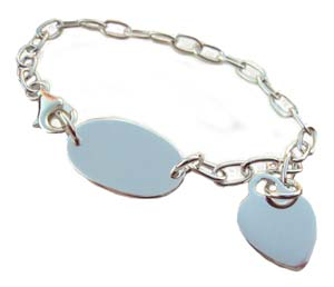 "Sterling Silver Charm Bracelet with Balloon Clasp, 7"" long (Blank ID)"
