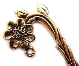 Flower Pot Gold Pewter Bookmark
