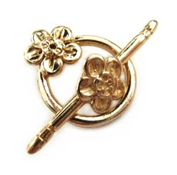 Pure Brass ~ Anti Tarnish ~ Flower Toggle x1