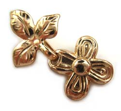 Pure Brass ~ Anti Tarnish ~ Flower & Leaf Hook & Eye Clasp x1