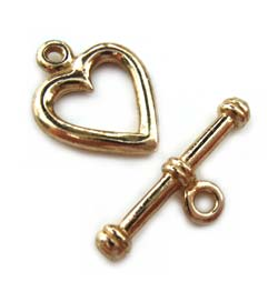 Pure Brass ~ Anti Tarnish ~ Heart Toggle x1