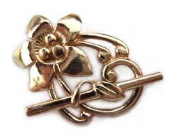 Pure Brass ~ Anti Tarnish ~ Frangipani Flower Toggle x1