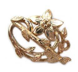 Pure Brass ~ Anti Tarnish ~ Flower & Leaf Toggle x1