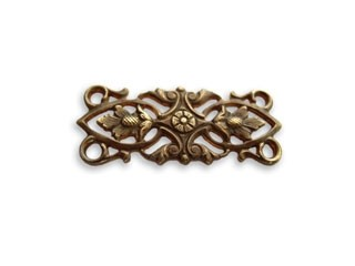 Vintaj Natural Brass 30x12mm Acorn Leaves Connector x1