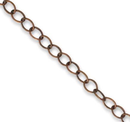 Vintaj Natural Brass 3.5mm Extra Fine Oval Chain (Closed Link) per half foot
