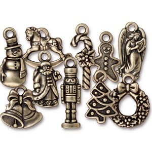 TierraCast Pewter Brass Oxide Christmas Past Charm Collection