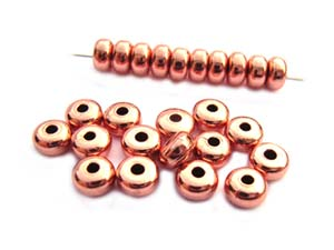 Base Metal Beads - 4.5x2.5mm Donut Spacer Copper Plated x144 pc approx