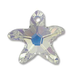 Swarovski Crystal Pendants Starfish 16mm Crystal AB x1