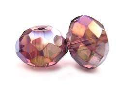 Imperial Crystal Roundelle Beads 14x10mm Light Amethyst AB x2