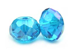 Imperial Crystal Roundelle Beads 14x10mm Med Aquamarine AB x10