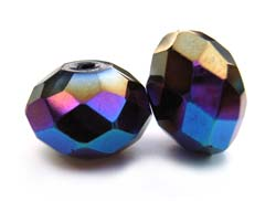 Imperial Crystal Roundelle Beads 14x10mm Jet AB x10