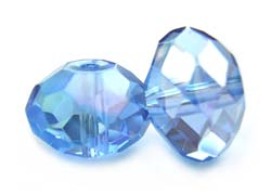 Imperial Crystal Roundelle Beads 14x10mm Light Sapphire AB x10