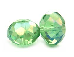 Imperial Crystal Roundelle Beads 14x10mm Peridot AB x10