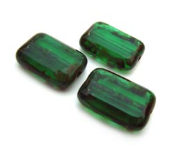 Czech Glass Beads - Rectangle 12x8mm Emerald Picasso x10