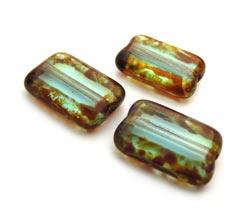 Czech Glass Beads - Rectangle 12x8mm Aquamarine Picasso x10