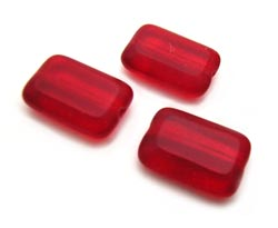 Czech Glass Beads - Rectangle 12x8mm Siam Ruby x10